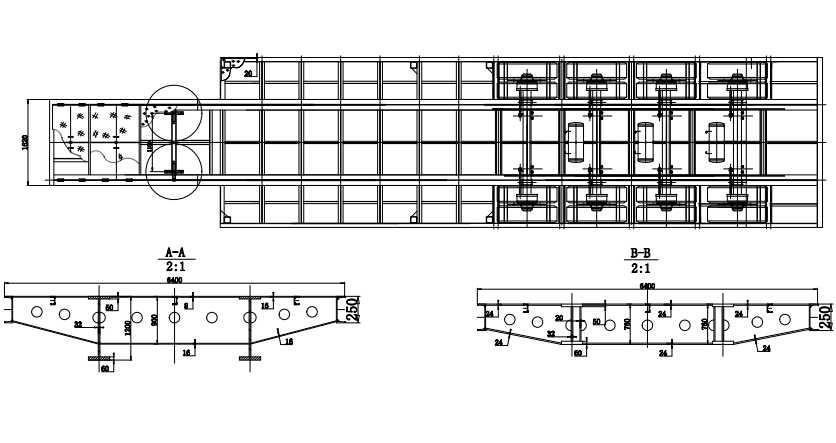 4 axles low bed trailer