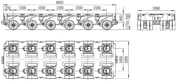 6 axles modular trailer